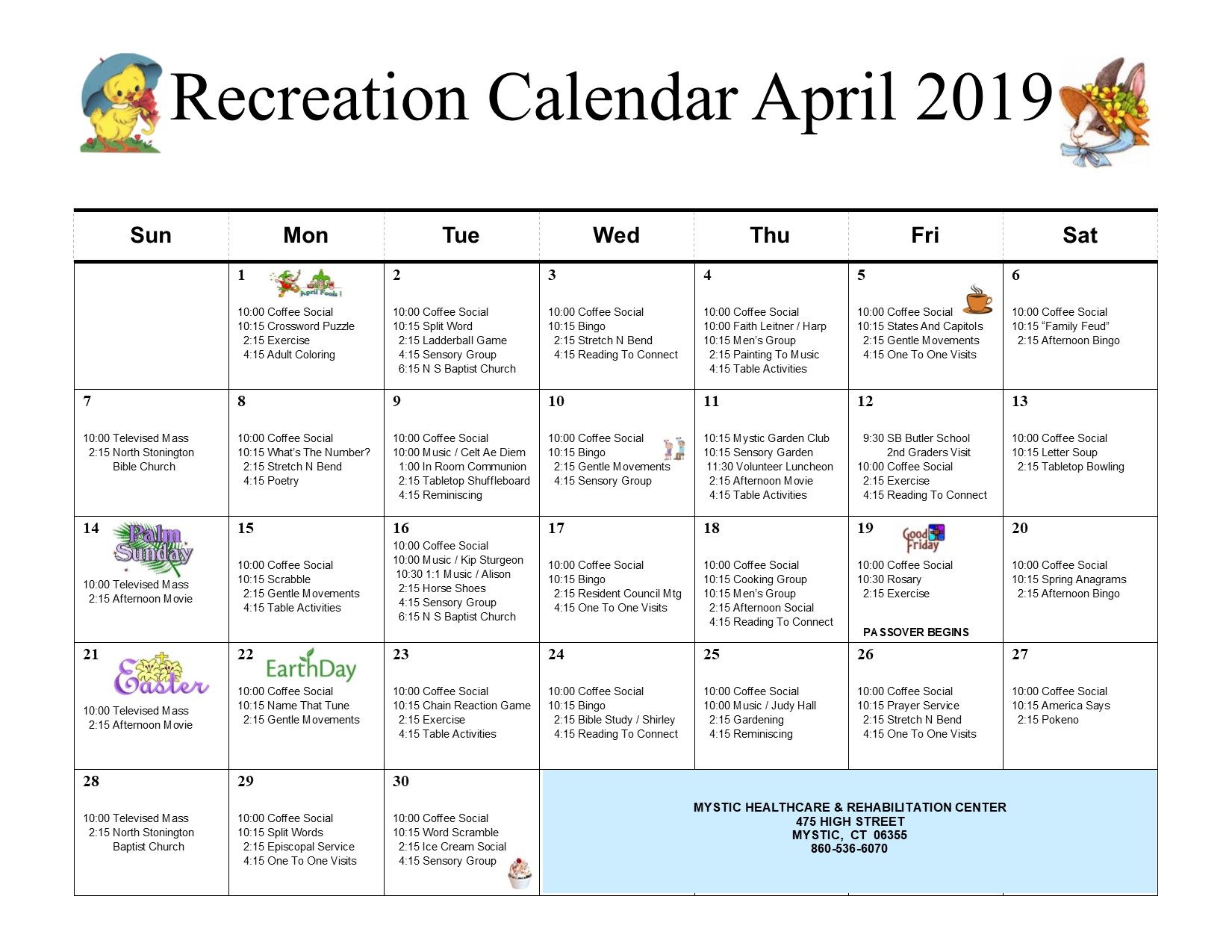 Mystic Healthcare Recreation Calendar April 2019 Mystic